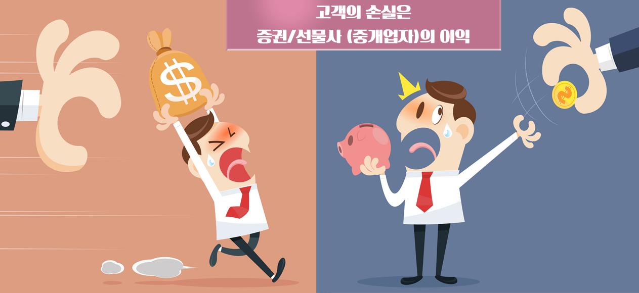 고객-트레이더-손실-증권선물사의 이익